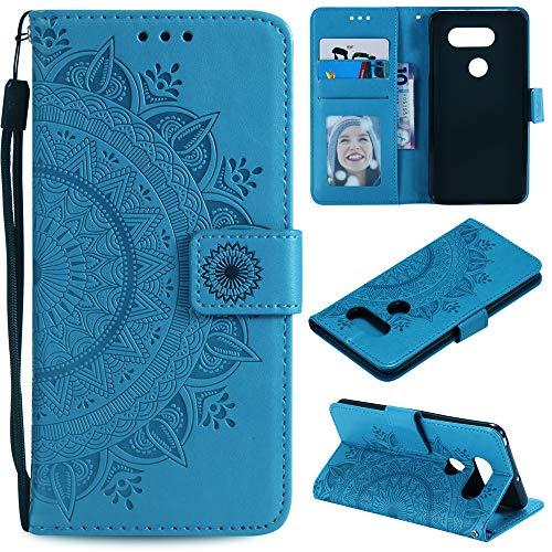MEUPZZK LG V30 /LG V30+/LG V35 ThinQ/LG V35/LG V30S ThinQ Wallet Case, Totem Flower Embossed Premium PU Leather Kickstand Flip Cover Card Holders & Hand Strap Wallet Purse Case for LG V30 (P-Blue)