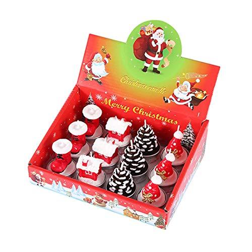 12 Stück Weihnachten Teelicht Kerzen Set Handgemachte Zarte Weihnachtsmänner Schneemann Tannenzapfen Baum Form Kerze für Weihnachten Haus Dekoration Geschenke