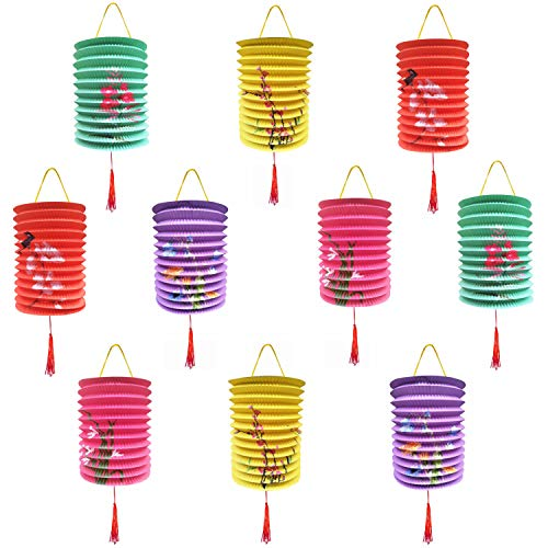 Chinese Paper Lantern and Japanese Decorations, 10 Multicolor Hanging Flower Lanterns for Your Home, Outdoor Party, or Classroom Theme Decorations, Chinese New Year, and mid Autumn Moon Festival