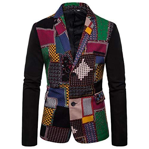 BIKETAFUWY Strickjacke Herren Sakkos Dashiki Jacke Mode Vintage Printed Suit Winterjacke Langarm Gedruckt Mantel Herbst Winter Hochzeit Party Business Formales Anzugjacken