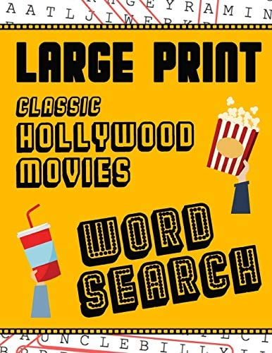 Large Print Classic Hollywood Movies Word Search With Movie Pictures Extra Large For Adults product image