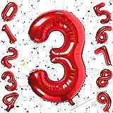 Unisun Globos de números rojos, 40 pulgadas tamaño grande digital 3 globos, para cumpleaños aniversario fiesta festival suministros (número 3)