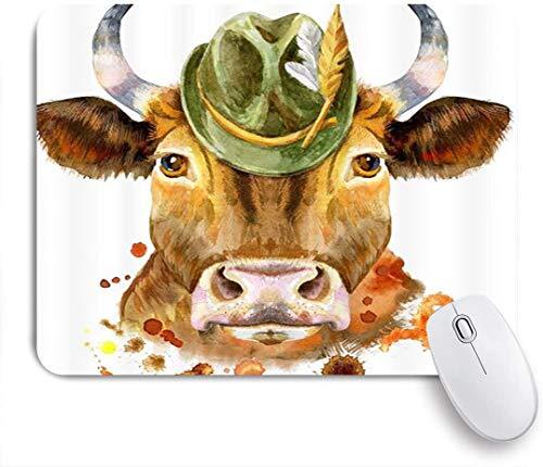 Benutzerdefiniertes Büro Mauspad,Bauernhaus Tier Aquarell Lustige Hipster Kuh mit Hut,Anti-slip Rubber Base Gaming Mouse Pad Mat