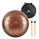EastRock Steel Tongue Drum, 13 Notes 12 Inch Drum Percussion Steel Drum Instrument with Mallets, Mallet Bracket,Tonic Sticker and Music Book(Coffee Color)
