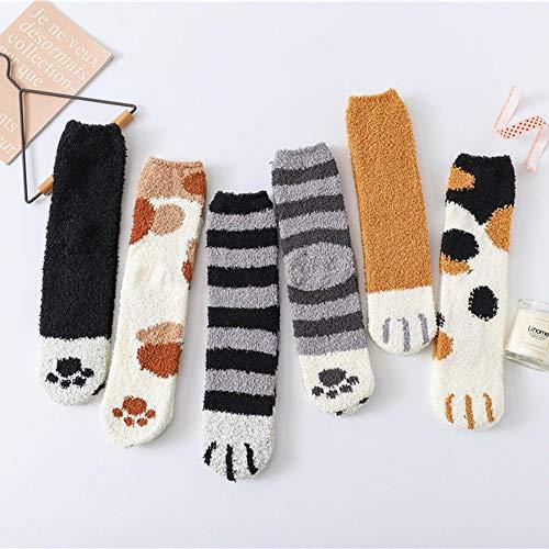 Alecony 6 Paar Damen Wärme Wintersocken,Kuschelsocken Flauschige Damen niedliche Katzenpfoten-Print Socken,Warme flauschig Wintersocken,Weihnachtssocken,Bettsocken,Fuzzy Haussocken für Mädchen Frauen