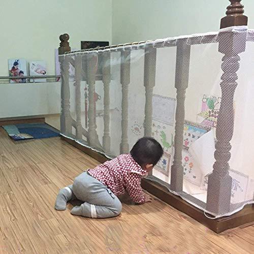Ezoon - Rete di sicurezza per scale per bambini, protezione anti-caduta, rete di sicurezza regolabile, per balcone e scale, con kit di fissaggio