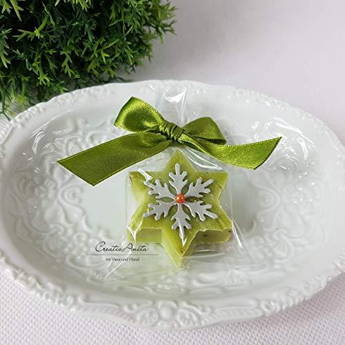 1 Stück - Seifenstern aus Florex Schafmilchseife - Weihnachtsstern - Grün - Eisenkraut