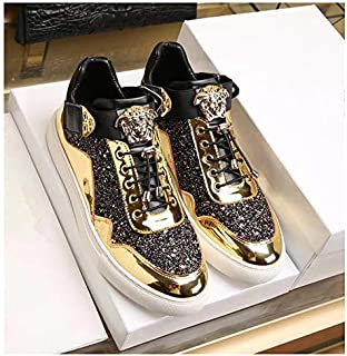 Local Gold Color Fashion Trendy Strange Low-Top Non-Slip Wear-Resistant Sneakers, Lace Up Breathable Best Selling Travel Men's Shoes Lightweight Outdoor Sports,Gold,44EU