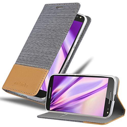 Cadorabo Hülle für Motorola Moto X Style - Hülle in HELL GRAU BRAUN – Handyhülle mit Standfunktion & Kartenfach im Stoff Design - Hülle Cover Schutzhülle Etui Tasche Book
