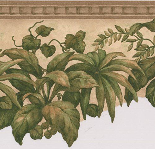 Tapetenbordüre mit Blumenmuster, grüne Pflanzen unter der Decke, Retro-Design, ca. 4,3 x 12,7 cm, Beige