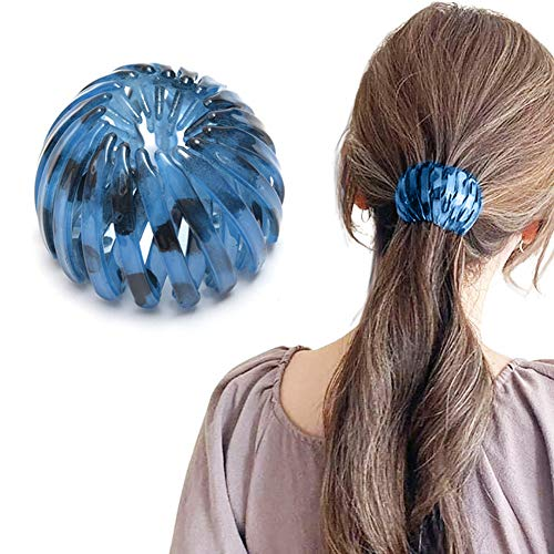 Ponytail Hairpin Curling Iron, 2021 Fashion Retro Leopard Print Hairstyle Headbands Fashion Bird's Nest Hairpin Ball Hairpin Expandable Ponytail Holder Bird Nest Shaped Hair Clips Hair Claw Clamps (B)