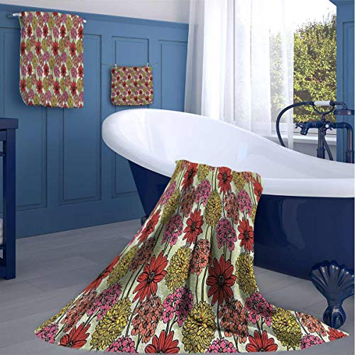 HOMEDECORATIONS Floral Kitchen Cleaning Towels Drawing Style Colorful Dries Quickly washcloths Gift for Best Friend Woman