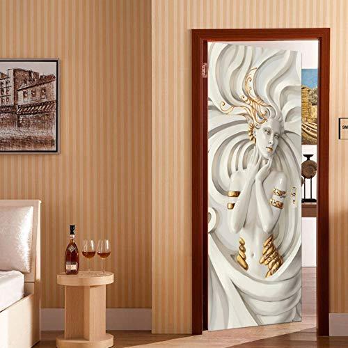 Türtapete Selbstklebend 3D TürPoster Skulptur Wandaufkleber PVC Wasserdichte Fototapete Türfolie für Wohnzimmer Schlafzimmer Dekoration Wandtattoo 77x200 cm