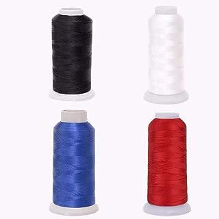 Eastern Fashional Life Heavy-Duty Size T70 #69 Bonded Nylon Sewing Thread - 1500 Yard Spool(Black&White&Blue&Claret)