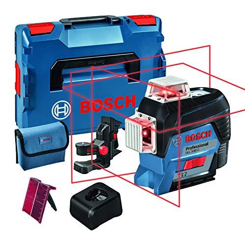 Bosch Professional Sistema 12V Nivel Láser GLL 3-80 C (1 batería 12V + cargador, láser rojo, conexión Bluetooth, alcance hasta 30m, soporte universal BM1, en L-BOXX)