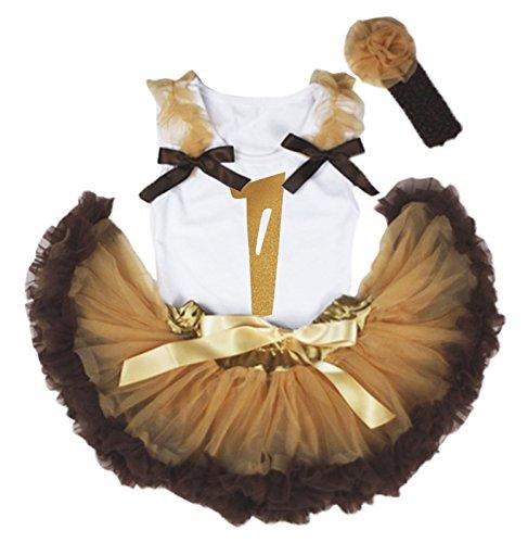 Verjaardag Jurk Verf 1e Wit Katoen Shirt Goud Bruin Baby Rok Set 3-12m