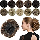 ROSEBUD Chignon Hairpiece Curly Bun Extensions Scrunchie Updo Hair Pieces Synthetic Combs in Messy Bun Hair Piece for Women