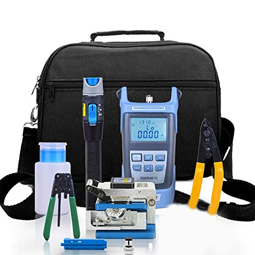 Enshey Fiber Optic FTTH Tool Kit FTTH Assembly Optical Fiber Termination Tool Kit with FC-6S Cleaver Optical Power Meter Visual Fault Locator Finder Cable Cutter Stripper 5km