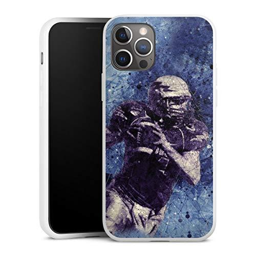 DeinDesign Silikon Hülle kompatibel mit Apple iPhone 12 Pro Case weiß Handyhülle Sport Fußballer American Football