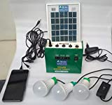 Belifal Solar Home Lighting System kit 6v DC 27Watts Stored Power & Three DC Bulbs & one 3Watts Solar Panel & DC 7.5V Electric Charger & Mobile Charger (Metal, Green)