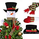 OLLWY Snowman Christmas Tree Topper Large Top Hat Snowman Tree Topper Outdoor Indoor Novelty Christmas Decorations Home Decor