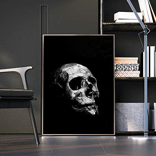 wZUN Carteles e Impresiones en Blanco y Negro Abstracto cráneo Pared Arte Lienzo Pintura nórdica decoración del Dormitorio del hogar Pintura 60x90 Sin Marco