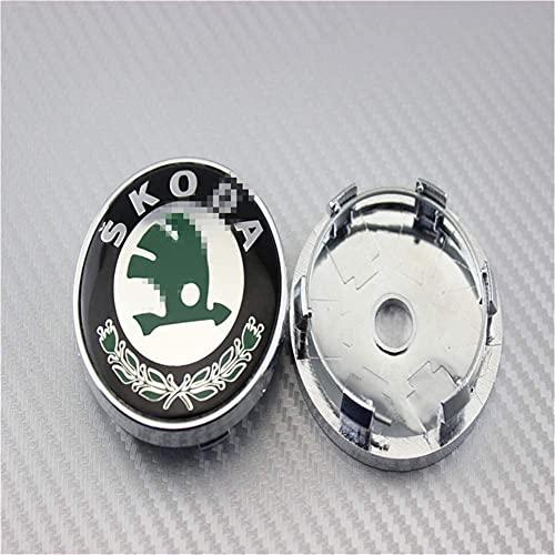 4 Uds, Cubiertas de centro de cubo de rueda para coche, 56/60 / 65mm para Skoda, cubiertas de emblema de insignia de repuesto, molduras decorativas para rueda, accesorios de estilo de coche