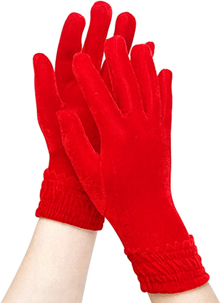 Women Gloves Thermal Magic Wrist Length Bike Driving Ski Gloves Thick Mittens