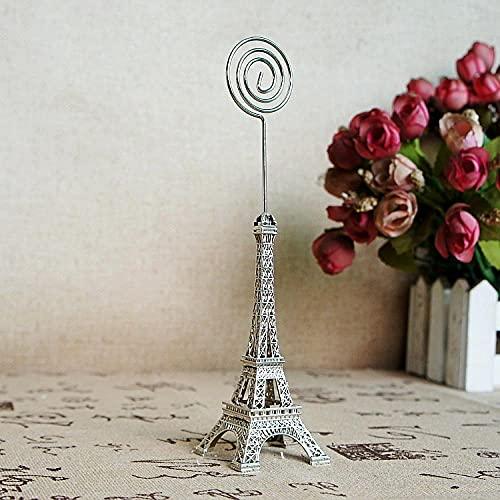 Ksnrang Ornamenti Ornamenti dell'ufficio Lega Lega Eiffel Tower Modello Business Tablet Puntes Puntelli Model Tower Card Clip-d'Argento_4 * 17 cm