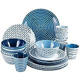 Campinggeschirr für 6 Personen 24 Teile - blau weiß - Geschirrset - Melamin Geschirr