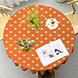 JKTOWN Starfish Washable Tablecloth for Holiday Home Party Wedding Picnic 43 inch Doodle Style Aquarium Animals Pattern on Abstract Orange Background Exotic Fauna Orange White