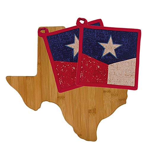 Texas Kitchen Decor Cutting Board with Star of Texas Potholders (3 Item Bundle)