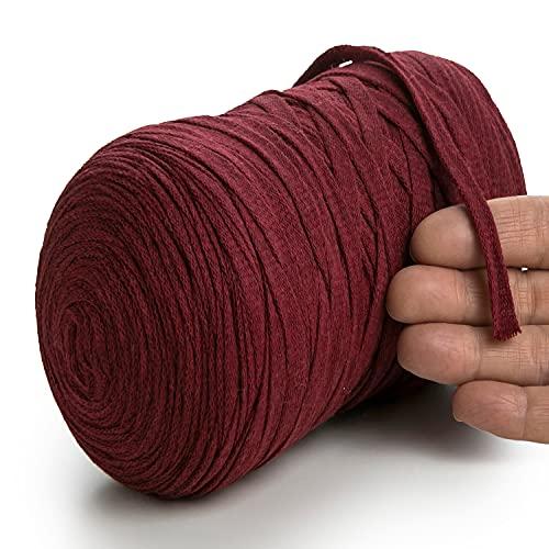 MeriWoolArt - Hilo de algodón para tejer y hacer macramé, ganchillo, cinta de regalo de Navidad - 10 mm - 150 m de hilo para camiseta, color rojo