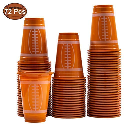 JOYIN 72 Pack Touchdown Football Themed Cups, Game Day Plastic Cups, Football Party Supplies