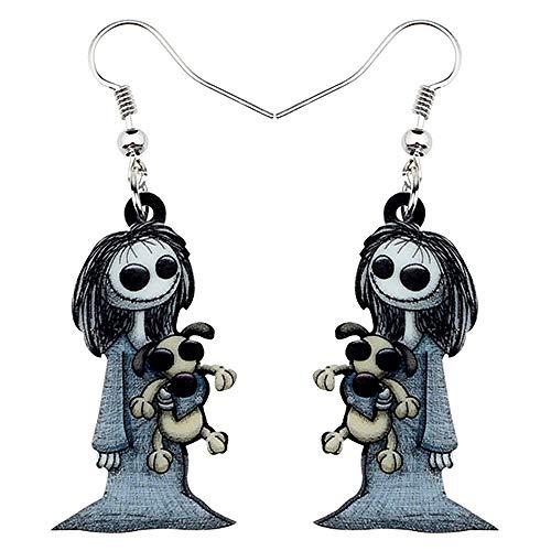 Acrilico Halloween Dark Smile Doll Toy Orecchini Ciondola Drop Hoops Gioielli Fantasma per Le Donne Ragazza Costumi da Festa Regalo(Multicolore)