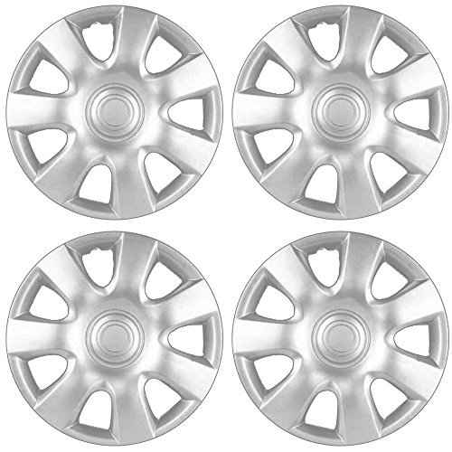 15 inch Hubcaps Best for 2002-2004 Toyota Camry - (Set of 4) Wheel Covers 15in Hub Caps Silver Rim Cover - Car Accessories for 15 inch Wheels - Snap On Hubcap, Auto Tire Replacement Exterior Cap