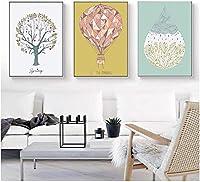 アートウォールツリーウォーターバルーンプラントキャンバスポスターモダンリビングルームウォールプリント画像抽象絵画3ピース60x80cmフレームなし