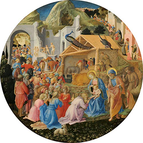 """Fra Angelico The Adoration of The Magi 1440-1460 National Gallery of Art Washington DC 24"""" x 24"""" Fine Art Giclee Canvas Print (Unframed) Reproduction"""