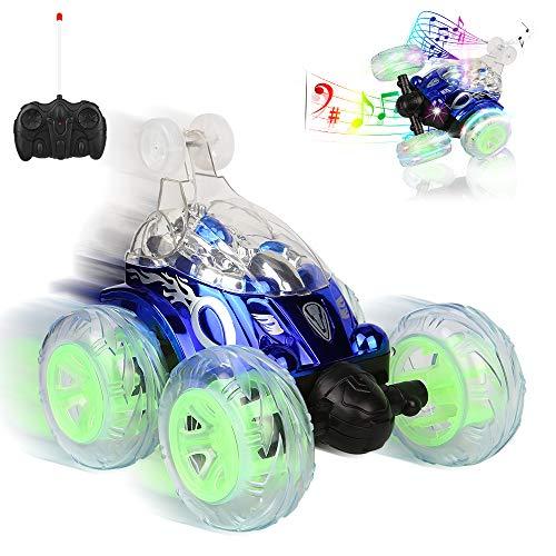 Sylanda RC Auto, Ferngesteuertes Auto für Kinder ab 6, Auto mit Fernbedienung, 360° Wiederaufladbar RC Stunt Auto Rennauto mit Musik und LED-Licht