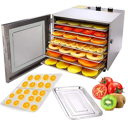 KGK Electric Food Dehydrator Machine, 6 Tray Stainless Steel Food Dryer Dehydrator for Food and Jerky Beef Meat Vegetable Fruits Dryer Maker Food Dehydrator,600W,Temperature Control