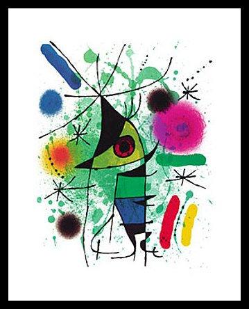 Germanposters Joan Miro der singende Fisch Poster Kunstdruck Bild mit Alu Rahmen in Champagne