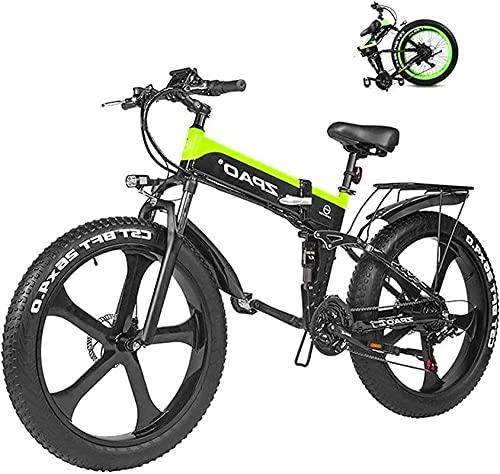 Bicicleta electrica Bicicleta eléctrica de montaña 26 pulgadas 1000W 48V 12.8AH Bici de nieve de neumático de grasa plegable Ebike Pedal Assist Batería de litio Discos hidráulicos Frenos para