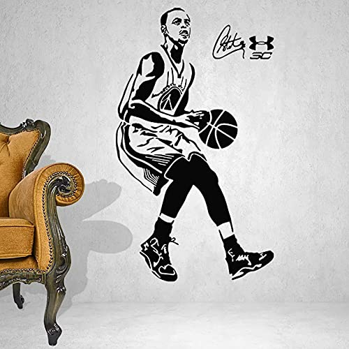 NBA Basketball Sports Star Player Warriors Stephen Curry Jump Shot Etiqueta de la pared Vinilo Calcomanía Boy Fans Dormitorio Sala de estar Club Decoración para el hogar Mural