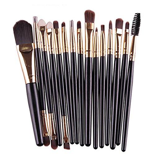15 pièces Ensemble de maquillage Poudre Fond de Teint Fard à paupières sourcil Concealer lèvre Brosse Cosmétique