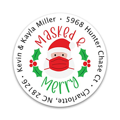 Personalized Christmas Address Labels - Custom Holiday Return Address Labels, Set of 80 Mailing Labels Flat Sheet Round Labels for Envelopes, Self Adhesive Stickers with 2020 Designs (Masked & Merry)