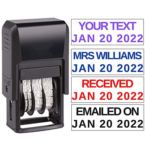 Custom Date Stamp Received Paid Completed Emailed Posted Scanned Approved Date Stamp Self Inking Personalize with 1 Line Custom Text  Self Inking Business Stamper