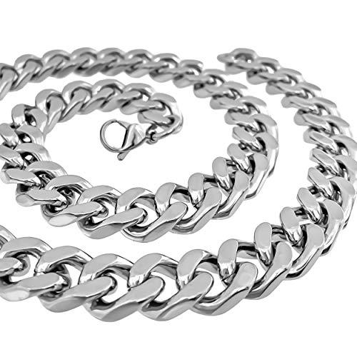 RUGGED STEEL Herren Panzerkette Edelstahl massiv XXL Halskette breit & schwer (14 mm / 220 g) Karabinerverschluss Farbe Silber hochglanzpoliert (65)