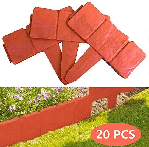 CDblue Rasenkante in Steinoptik 20-teilige Umrandung 5M für Beete Mähkante Kunststoff Mähkante Palisade Garten Beet (Rot)