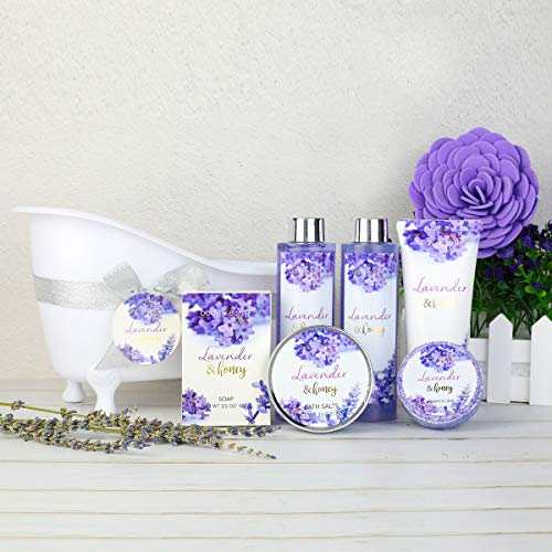 Bath and Body Gift Set - Body & Earth 8 Pcs Bath Spa Gift Sets Lavender&Honey Scent, Includes Bubble Bath, Shower Gel, Body Lotion, Bath Salt and More, Perfect Gift Basket for Home Relaxation