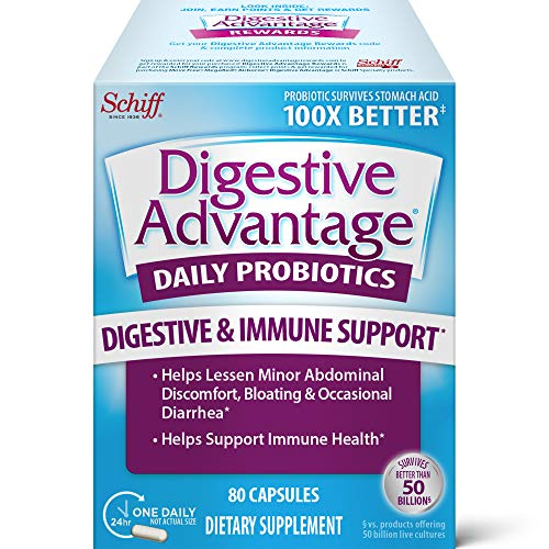Digestive Advantage Daily Probiotic Capsules - Supports Digestive & Immune Health, Helps Lessen Minor Abdominal Discomfort & Bloating (80 Count In A Box), Packaging May Vary